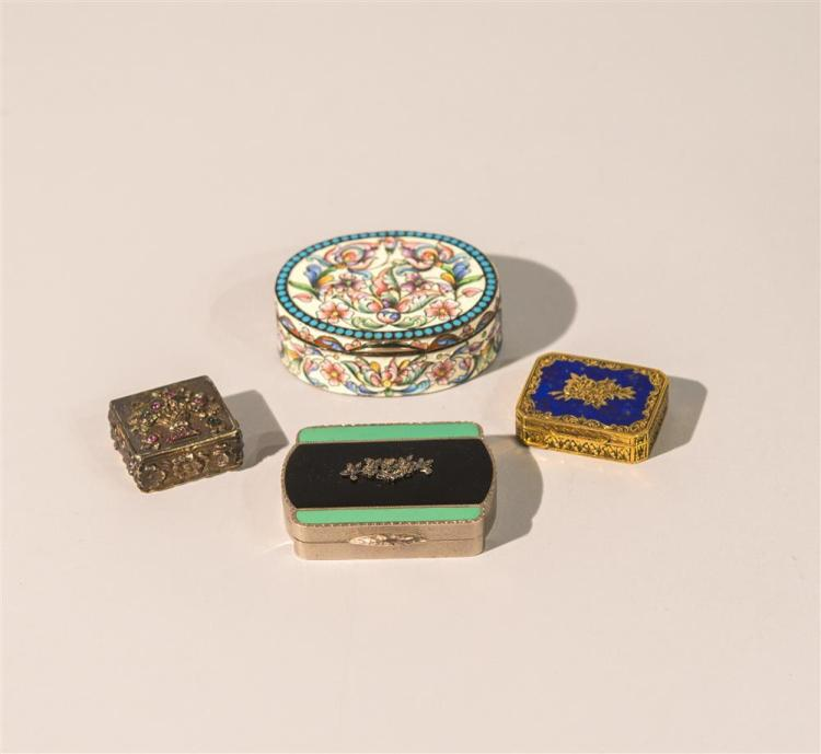 ENGLISH SILVER, SILVER GILT AND ENAMEL LADIES COMPACT, H. C. Freeman, Ltd., Birmingham, 1930; together with a SILVER GILT AND COBALT...