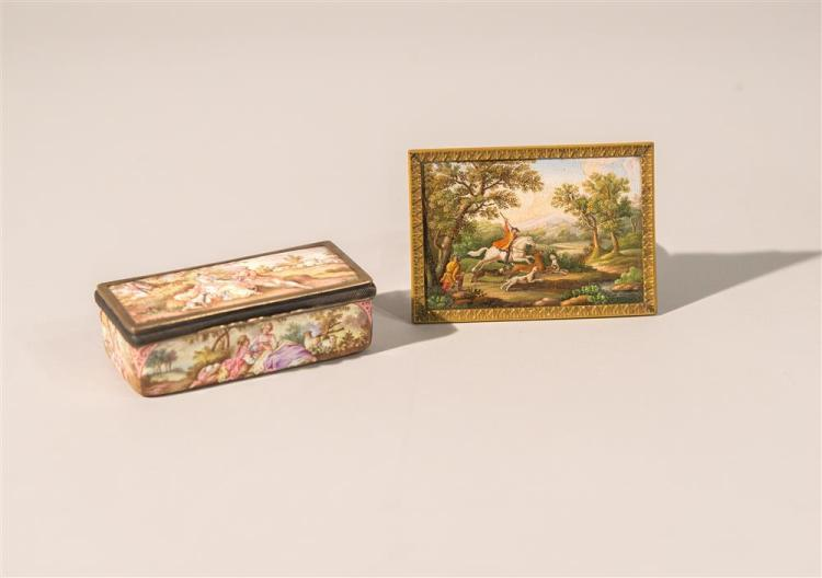 CONTINENTAL MICROMOSAIC PANEL, together with a FRENCH SILVER GILT AND ENAMEL BOX