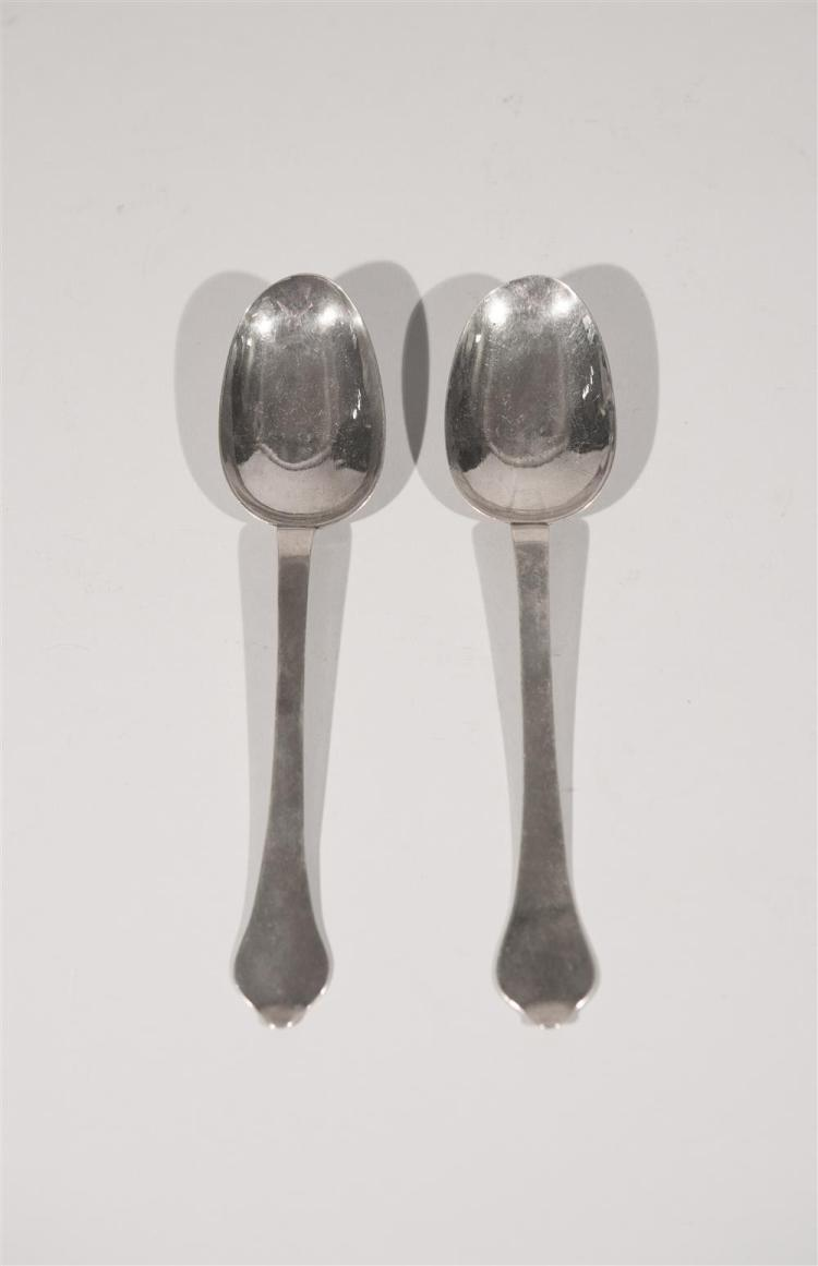 TWO ENGLISH SILVER TABLE SPOONS, bearing marks for London, 1701, Fras. Archibald