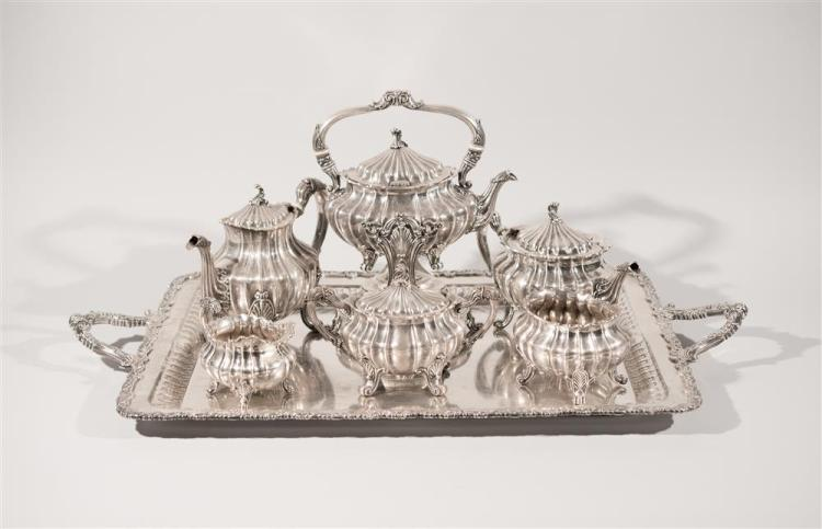 AMERICAN SILVER SIX PIECE COFFEE AND TEA SERVICE WITH TRAY, Gorham, maker