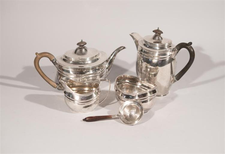ENGLISH SILVER THREE PIECE COFFEE/TEA SERVICE, London, 1918, John Hunt, maker together with A CHINESE SILVER WATER BOWL AND STRAINER...