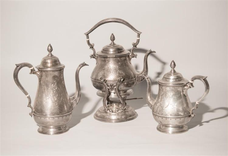 AMERICAN SILVER SIX PIECE COFFEE AND TEA SERVICE ON A TRAY, Dominick & Haff, maker, J.E. Caldwell, retailer