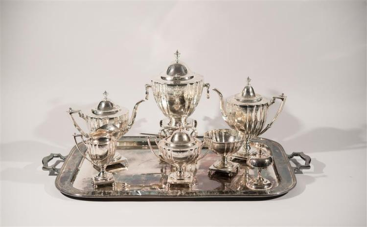 AMERICAN SILVER SIX PIECE COFFEE AND TEA SERVICE, Whiting and Davis, maker together with A SILVER PLATED TWO HANDLED TRAY, length: 3...