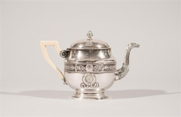 CONTINENTAL NEOCLASSICAL SILVER BACHELOR'S COFFEE/TEA SET, 19th century, probably French