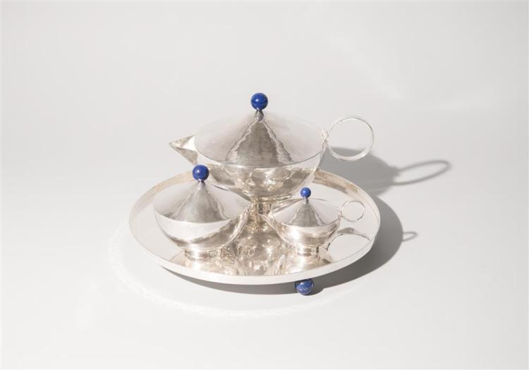 HANDMADE ITALIAN SILVER FOUR PIECE TEA SET, Daniela Vettori, maker, with lapis bead finials and feet
