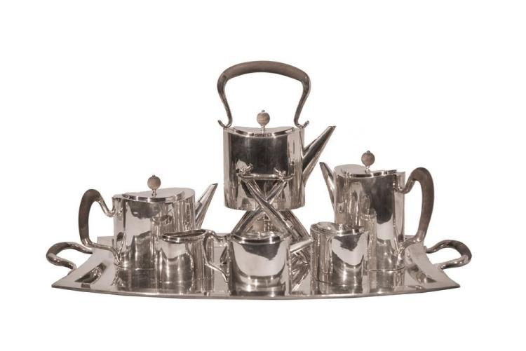 MEXICAN SILVER COFFEE AND TEA SERVICE ON TRAY, Tango Aceves, maker, San Francisco;