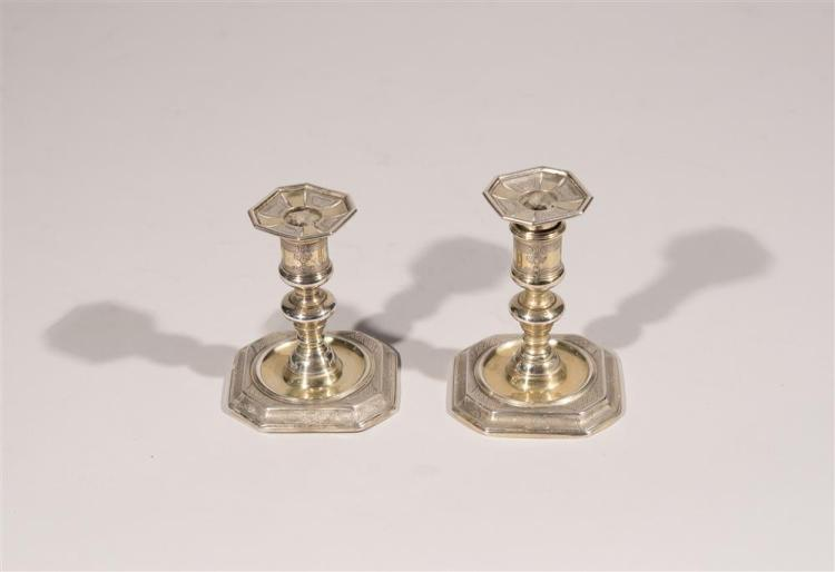 PAIR OF ENGLISH SILVER CHAMBERSTICKS, bearing marks for London, 1688, I.L., maker