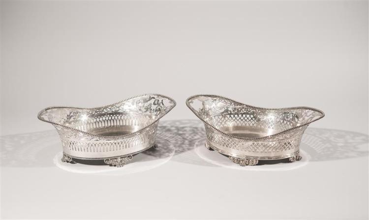 NEAR PAIR OF AMERICAN SILVER RETICULATED BASKETS, Tiffany & Co., maker