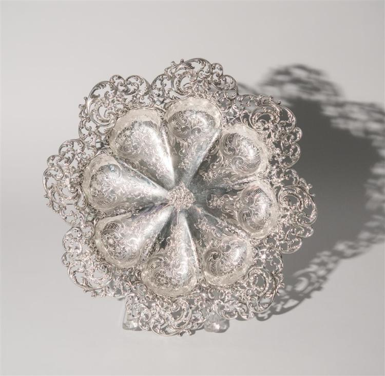 AMERICAN SILVER RETICULATED SERVING TRAY, J.E. Caldwell, maker