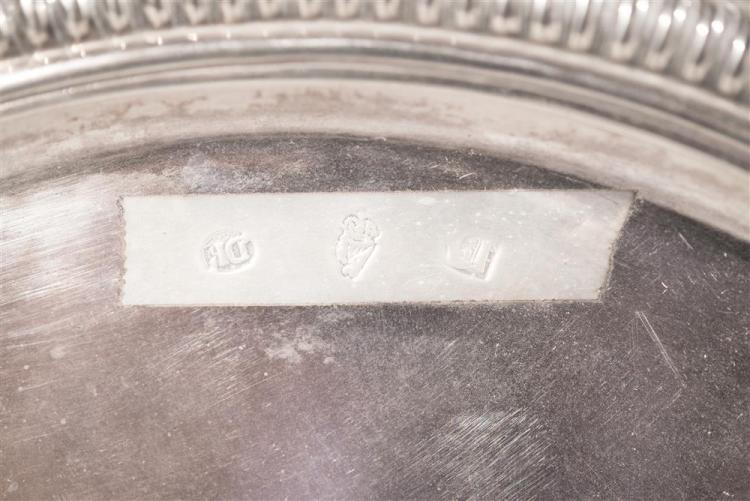 IRISH SILVER SALVER, bearing marks for Dublin, 1701, David King, maker together with A SMALLER IRISH SILVER SALVER