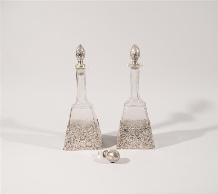 PAIR OF GERMAN ETCHED GLASS SILVER MOUNTED DECANTERS
