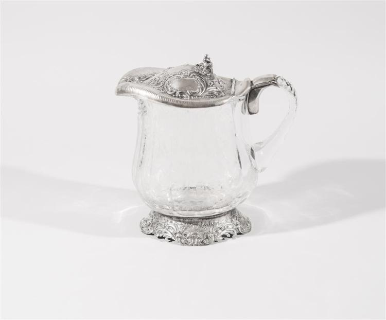 GERMAN ETCHED GLASS AND SILVER MOUNTED COVERED JUG, marked .800