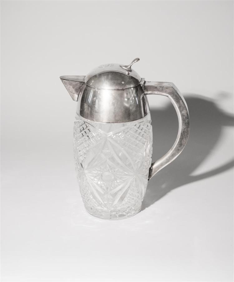 GERMAN CUT GLASS SILVER MOUNTED COVERED JUG, marked Wilkens u Sohne, .800 HB