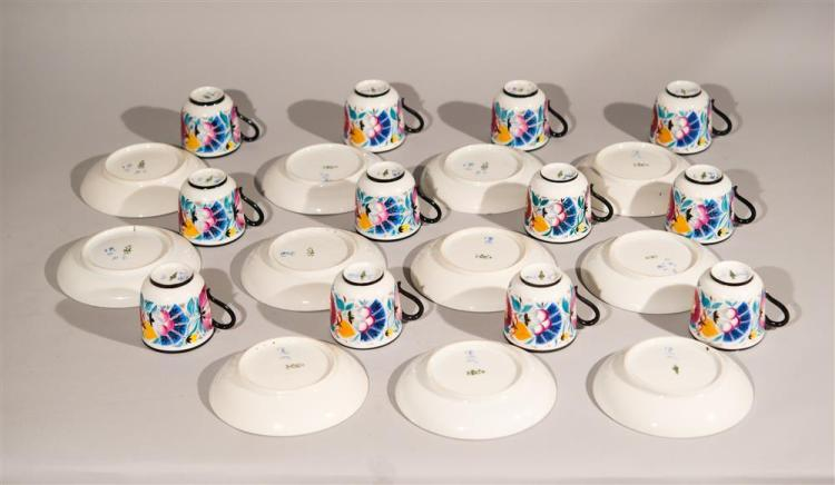 RUSSIAN PORCELAIN TEA CUPS AND SAUCERS, marked with hammer, sickle, and cog, dated 1921 and 1922