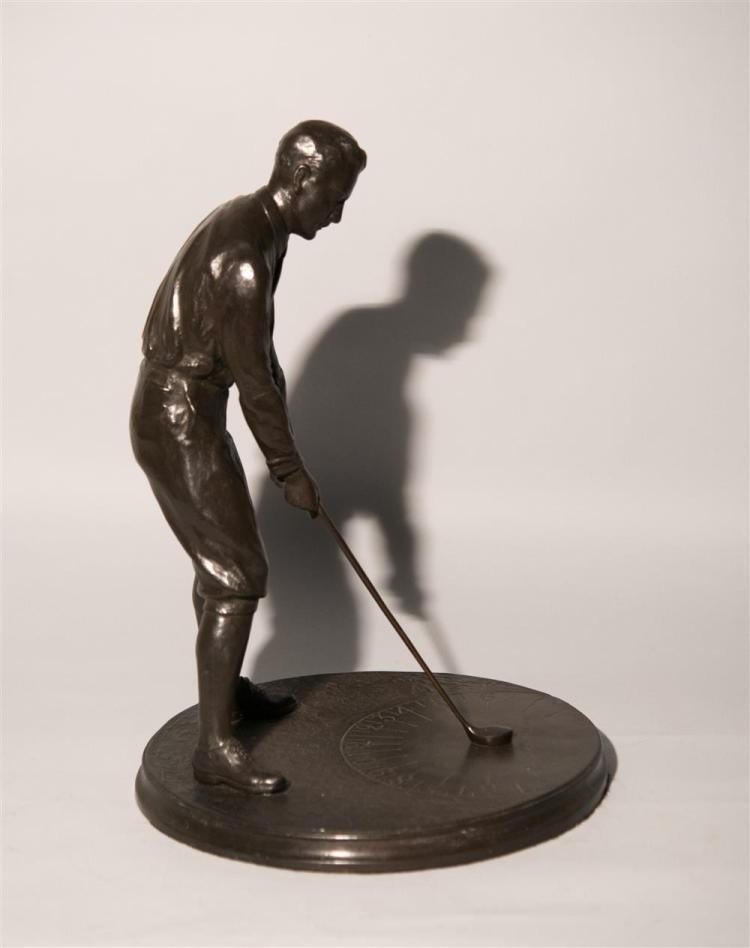 """EDWIN EVERETT CODMAN, (American, b. 1876), """"BOBBY JONES"""" SUNDIAL, patinated bronze, height: 18 1/2 in."""