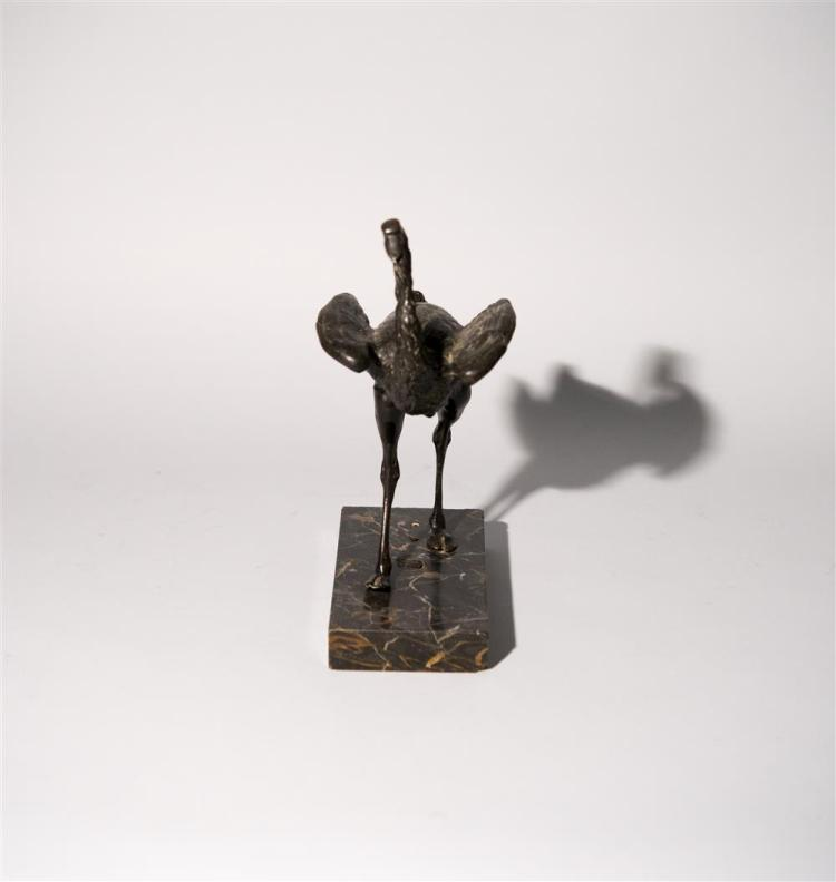 CONTINENTAL BRONZE FIGURE OF A STRUTTING OSTRICH, 19th century or earlier
