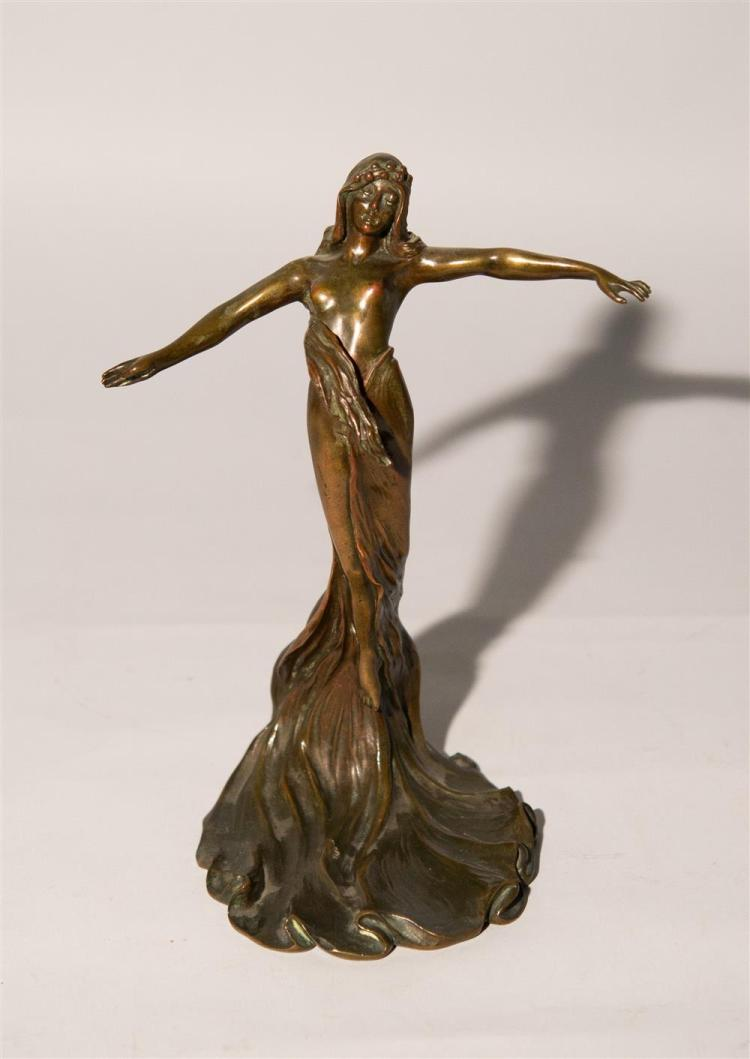 FRANCIS RENAUD, (French 1887-1973), FEMME PAPILLON, patinated bronze, height: 10 1/4 in.