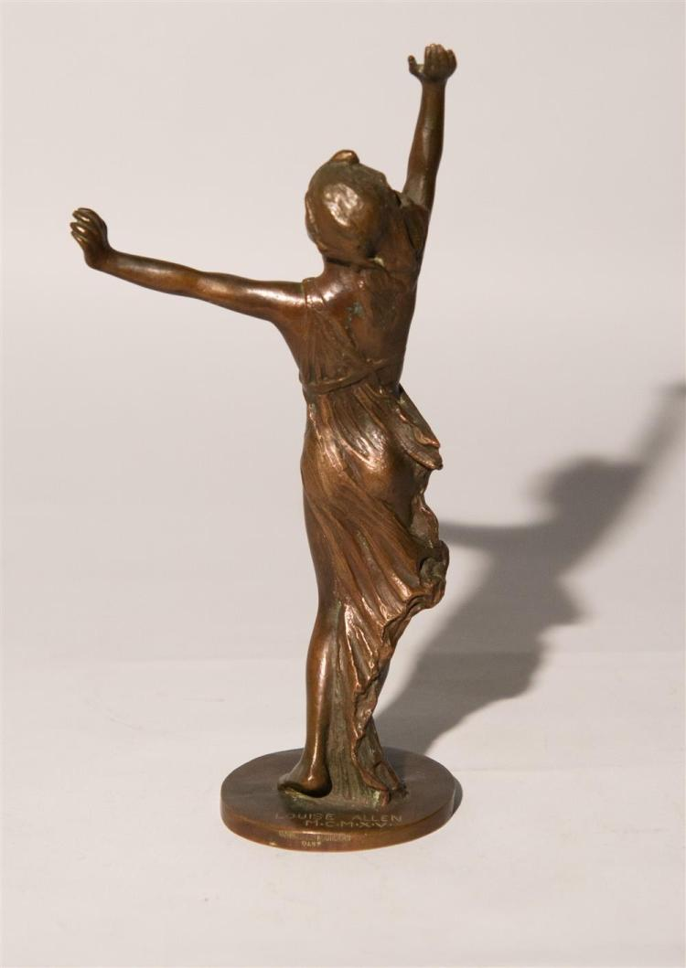LOUISE ALLEN, (American, d.1953), FIGURE OF A DANCING GIRL, patinated bronze, height: 11 1/4 in.