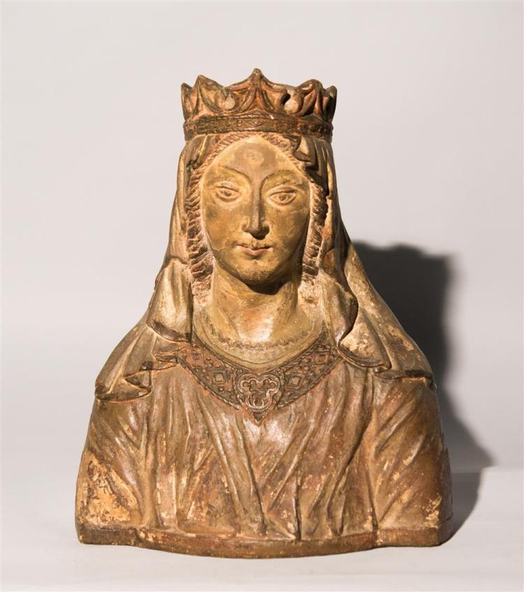 CONTINENTAL CARVED AND POLYCHROME LIMESTONE BUST OF A FEMALE FIGURE, possibly 14th/15th century