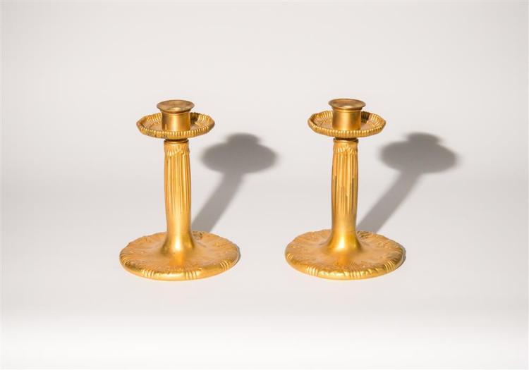 PAIR OF GILT BRONZE CANDLESTICKS, Tiffany Studios, maker