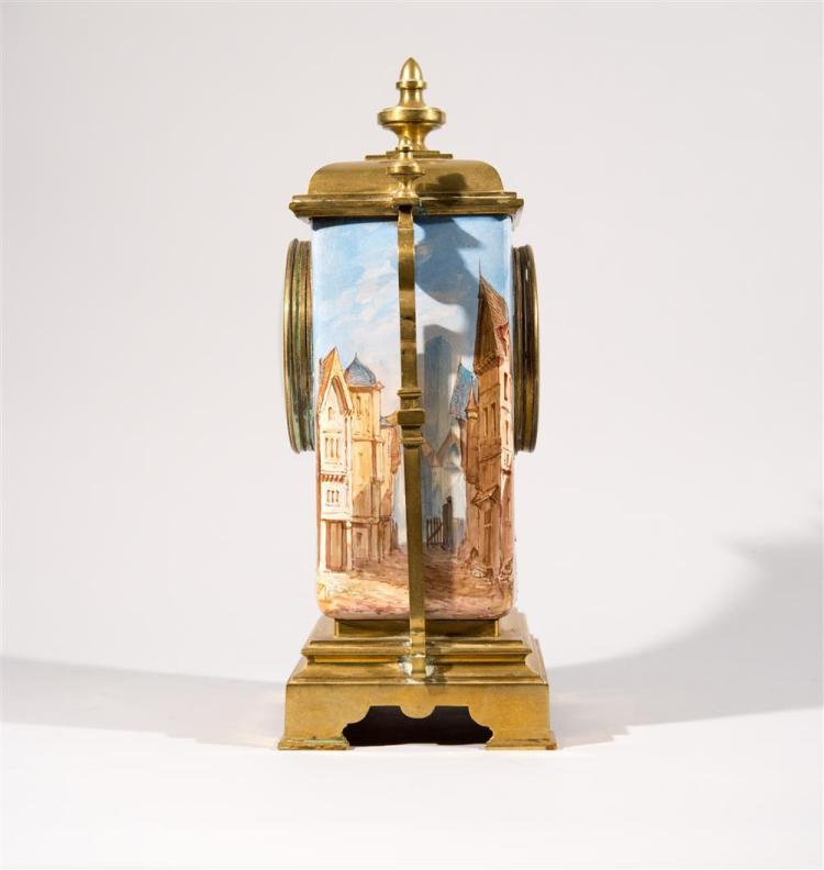 FRENCH BRASS AND PAINTED PORCELAIN MANTEL CLOCK, ca. 1900
