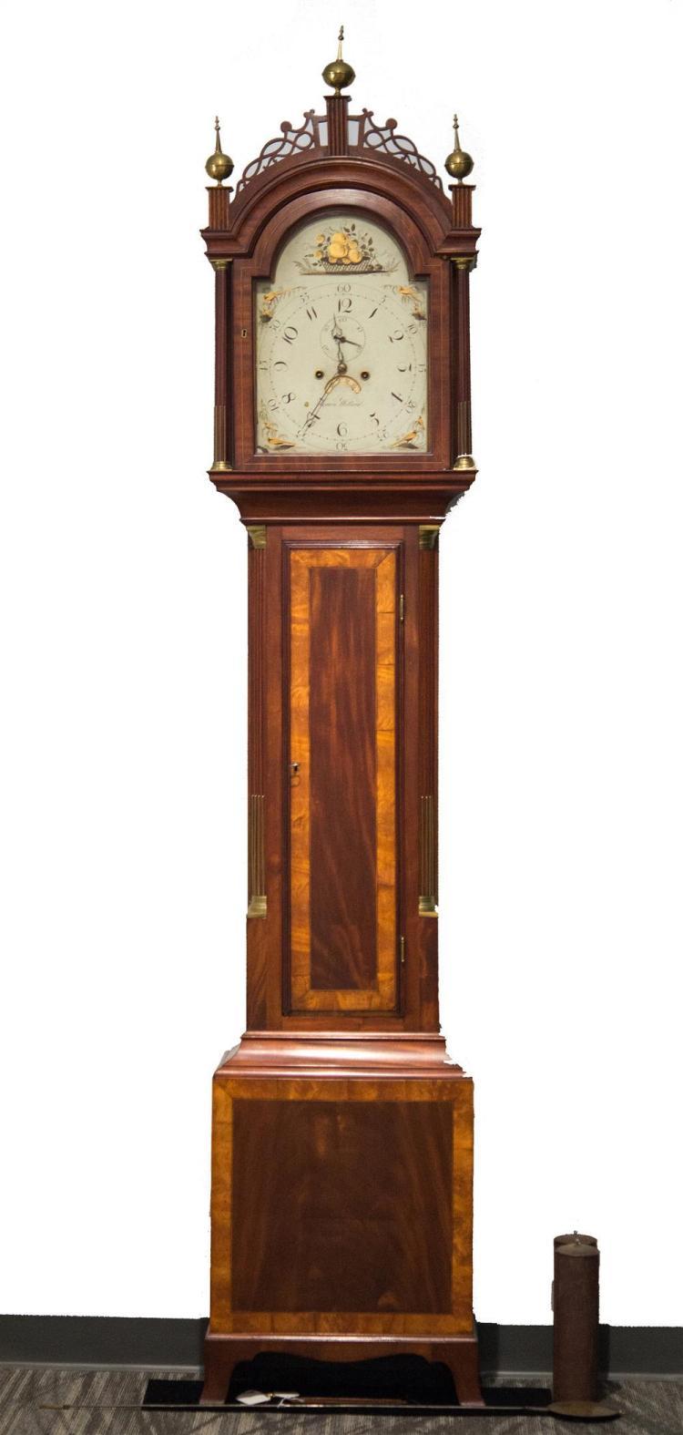 FEDERAL MAHOGANY INLAID TALL CASE CLOCK, Simon Willard