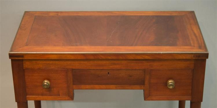 FRENCH MAHOGANY MARBLE AND MIRROR INSET LIFT TOP BRASS BOUND DRESSING TABLE, 19th century