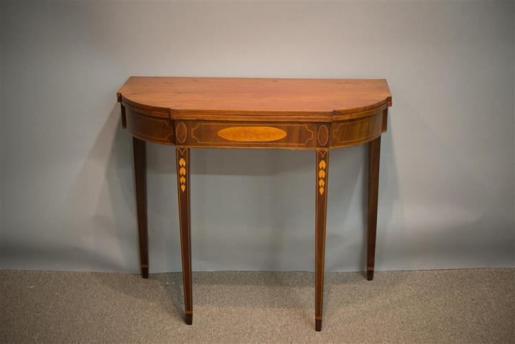 FEDERAL CHERRY INLAID GAMES TABLE, stamped C. Coffin, early 19th century