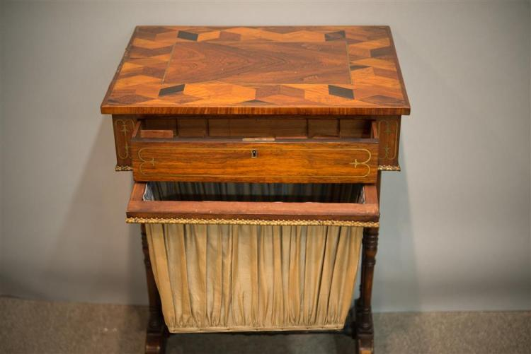 REGENCY ROSEWOOD PARQUETRY AND BRASS INLAID SEWING TABLE, early 19th century