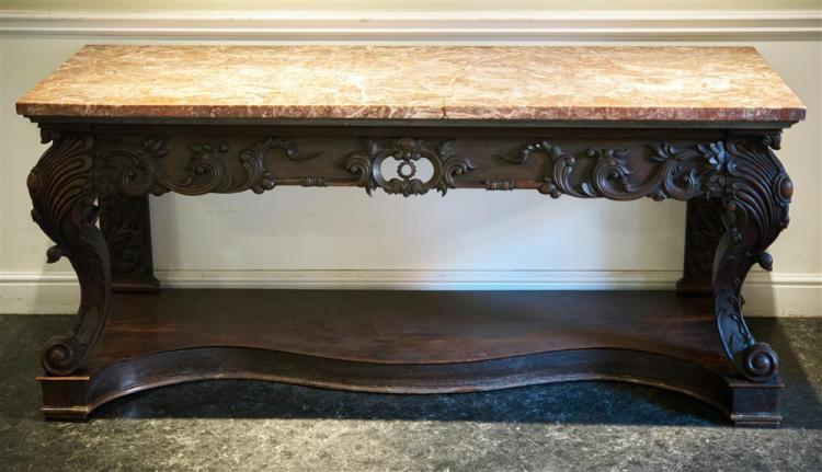 CHINESE GEORGIAN STYLE CARVED MAHOGANY MARBLE TOP CONSOLE TABLE, 19th century