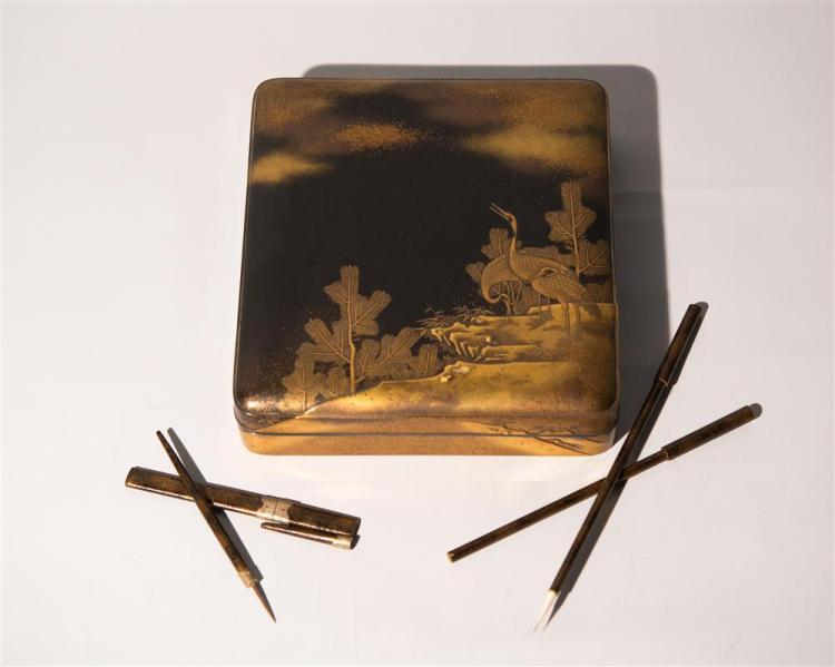 JAPANESE LACQUERWORK AND MIXED METAL SCHOLAR'S BOX, 19th century