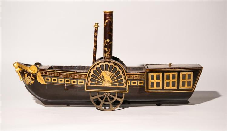 CHINESE EXPORT BLACK AND GILT LACQUERED TEA CADDY, early 19th century