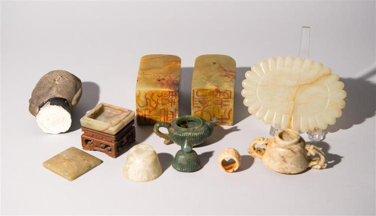 COLLECTION OF CHINESE CARVED HARDSTONE OBJECTS