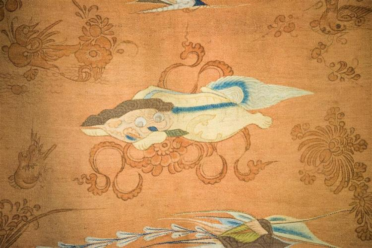 CHINESE FLATWEAVE TEXTILE DECORATED WITH FOO DOGS AND PHOENIX BIRDS, 19th century; 7 ft. 4 in. x 4 ft. 3 in.