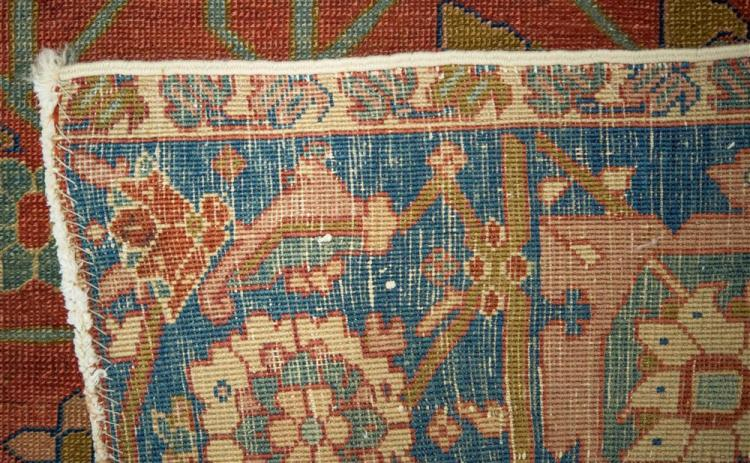 OPEN FIELD SERAPI CARPET, Persia, ca. 1880; 11 ft. 8 in. x 9 ft. 1 in.