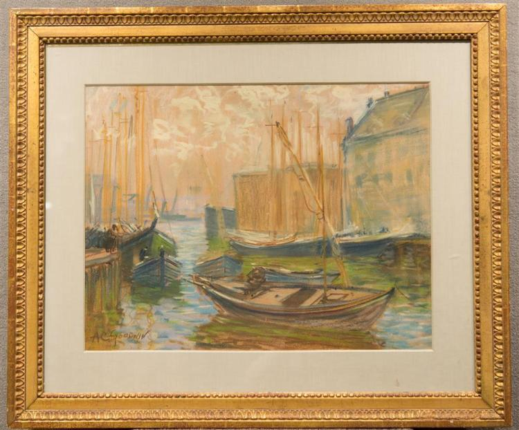 ARTHUR CLIFTON GOODWIN, (American, 1864-1929), SAILBOATS ALONG THE PIER, pastel on paper, sight: 17 1/2 x 22 3/4 in. (27 1/2 x 32 3/...