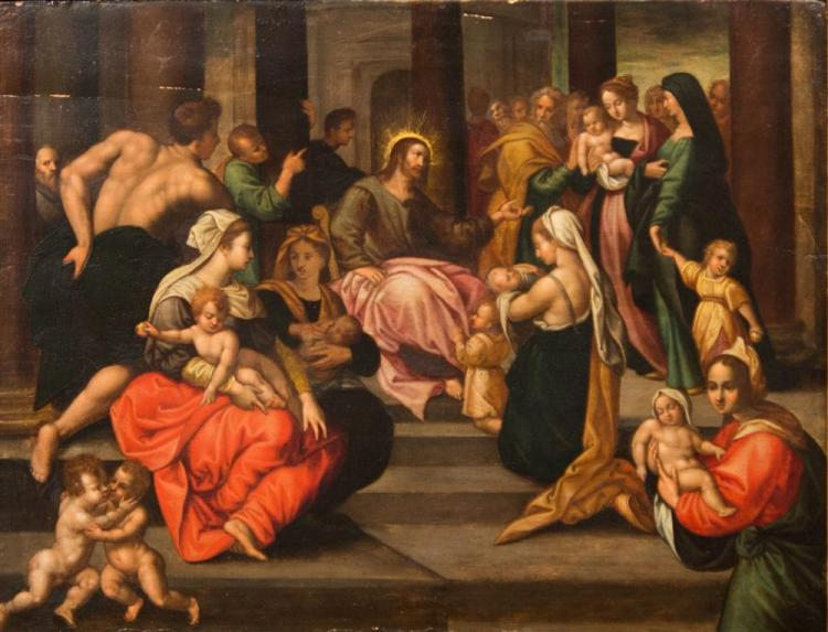 OLD MASTER , (16th/17th century), CHRIST BLESSING THE CHILDREN, oil on board, 14 3/4 X 19 1/4 in. (21 x 25 1/2 in.)