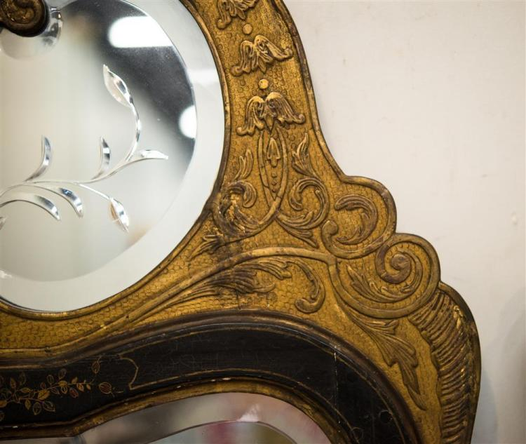 PAIR OF GEORGIAN CARVED GILT AND CHINOISSERIE DECORATED ETCHED AND BEVELLED GLASS WALL MIRRORS
