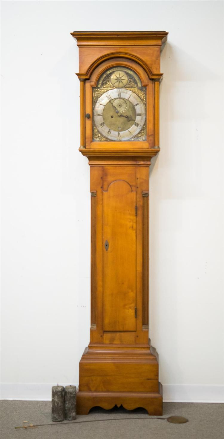 CHIPPENDALE MAPLE TALL CASE CLOCK, the dial stamped: Jeremiah Fellow Kensington
