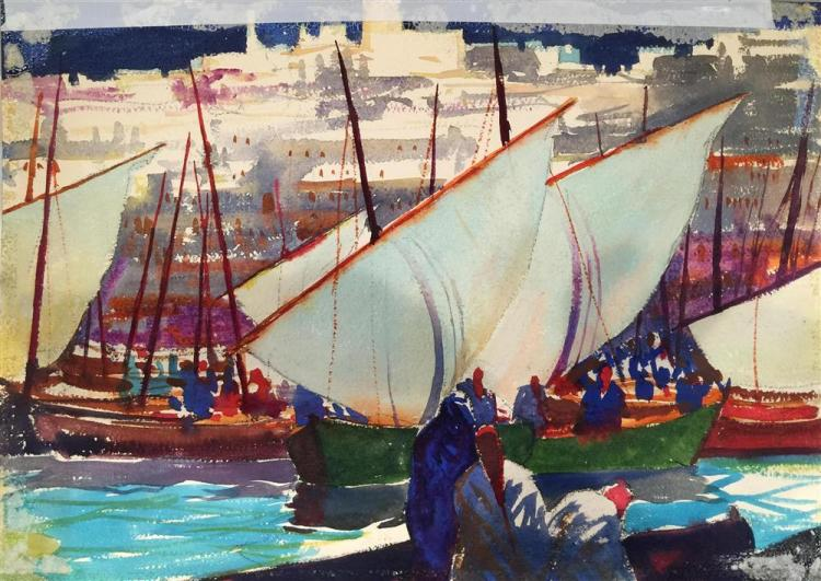 JOHN WHORF, (American, 1903-1959), SAILBOATS, BRITTANY, 1926, watercolor, sight: 14 x 20 in. (26 x 32 in.)