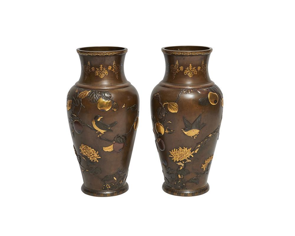 Large Pair of Japanese Meiji Period Patinated Bronze and Mixed Metal Vases, ca. 1900