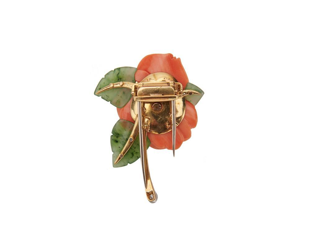 CARTIER 18K Gold, Carved Coral, Carved Nephrite, and Diamond Brooch