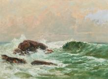 EDWARD A. PAGE, (American, 1850-1928), Seascape, oil on canvas, 16 x 22 in., frame: 23 x 29 in.