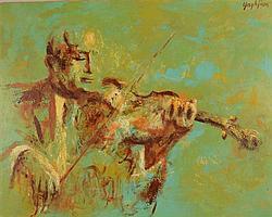 EDMUND YAGHJIAN, (1903-1999), VIOLINS, oil on masonite;
