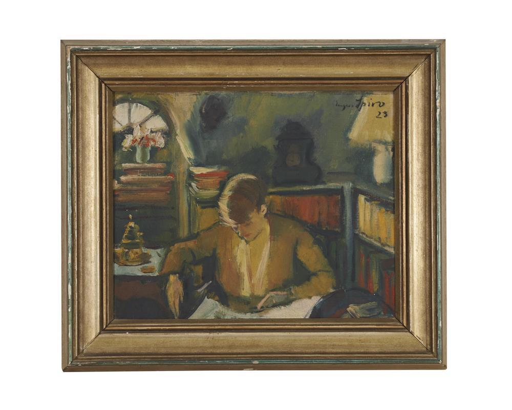 EUGEN SPRIO, (German/American, 1874-1972), Seated Woman, 1923, oil on canvas, 14 x 16 in., 19 1/2 x 22 1/2 in.