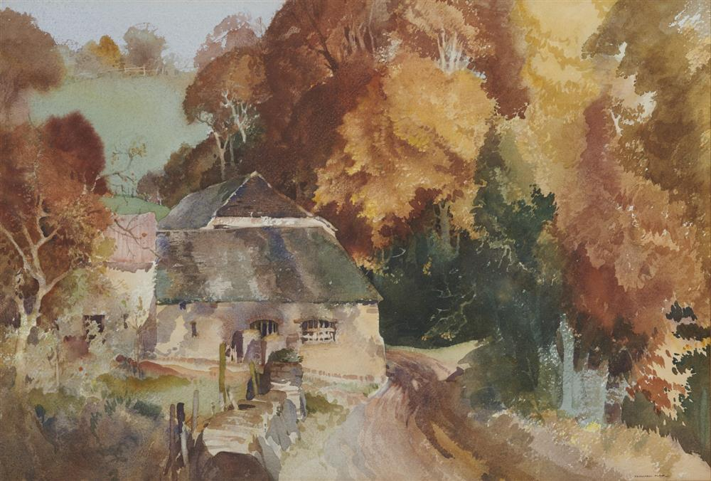 SIR WILLIAM RUSSELL FLINT, (Scottish, 1880-1969), An Old Devon Cider Press House, watercolor, sheet: 15 x 22 in., frame: 25 x 33 in.