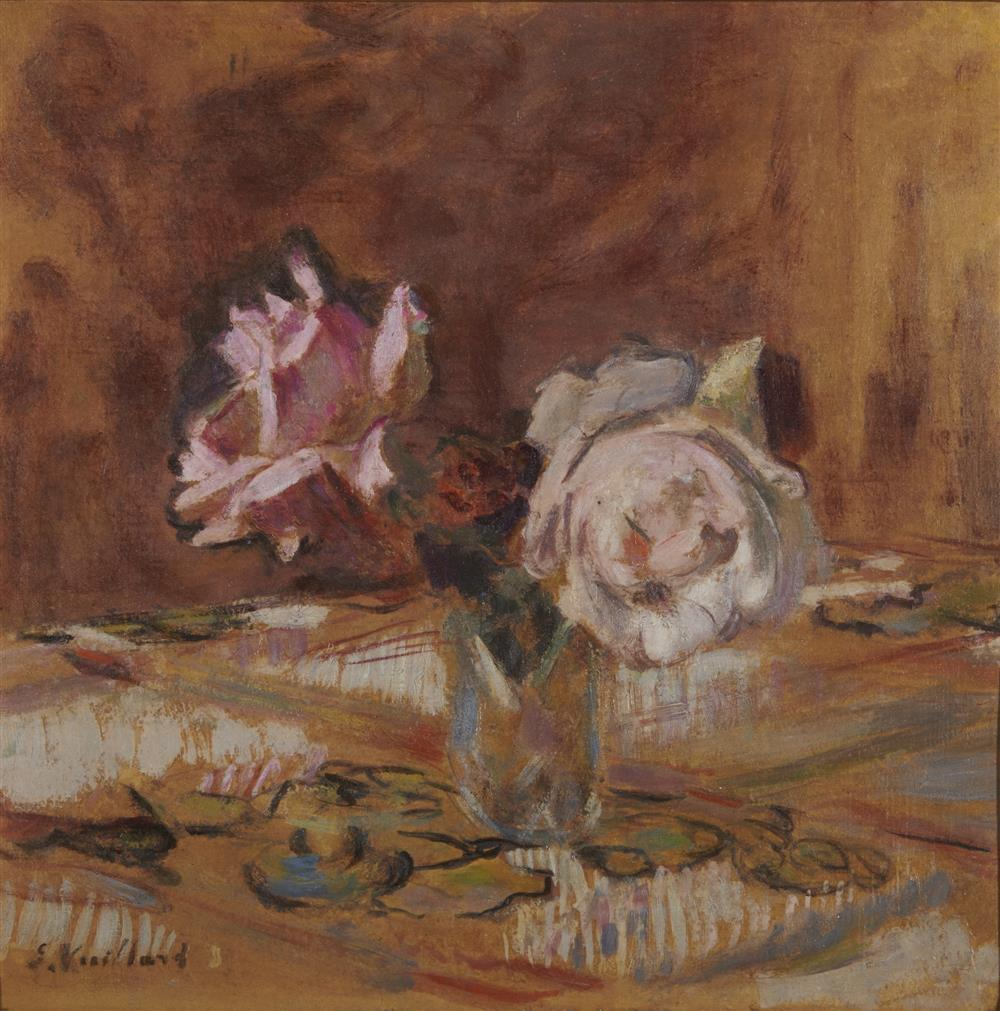 ÉDOUARD VUILLARD, (French, 1868-1940), Pink Roses, 1921-22, oil on cardboard, 12 1/4 x 12 1/2 in., frame: 17 1/2 x 17 1/2 in.