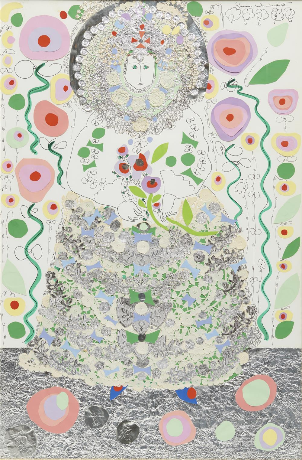 GLORIA VANDERBILT, (American, b. 1924), Girl in Blue and Silver, mixed media (marker, ink, foil, and cut paper), sight: 35 1/2 x 23 1/2 in., frame: 47 1/2 x 35 1/2 in.