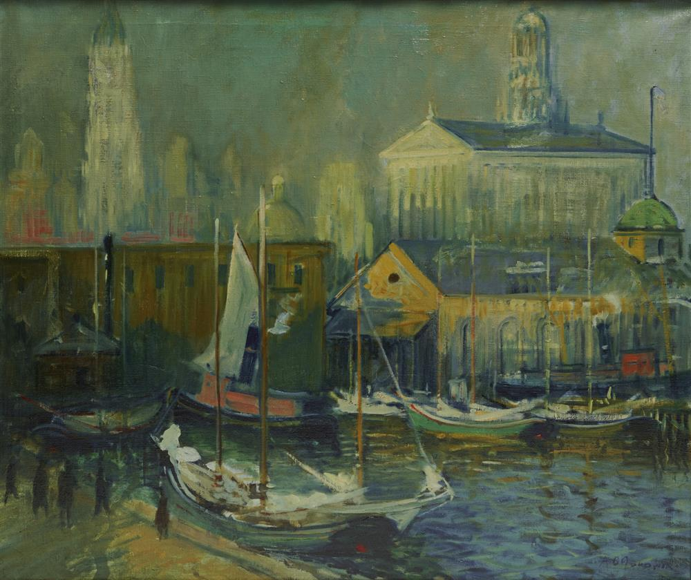 ARTHUR CLIFTON GOODWIN, (American, 1864-1929), Towering New York, Fulton Market Slip, oil on canvas, 34 x 40 in., frame: 41 1/2 x 47 1/2 in.