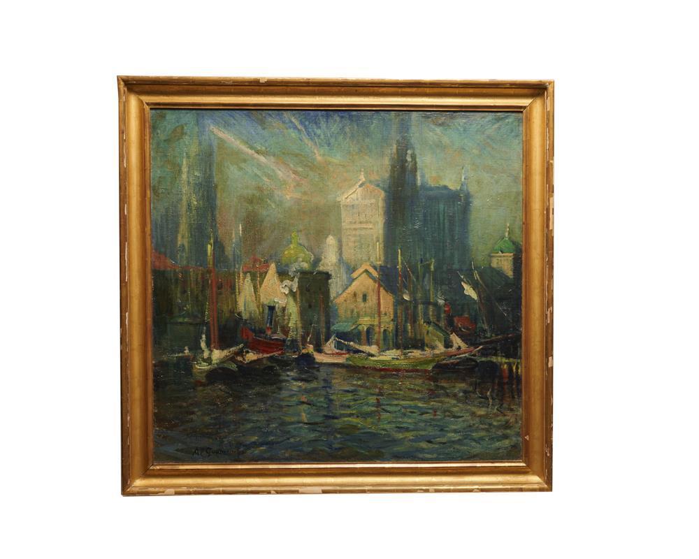 ARTHUR CLIFTON GOODWIN, (American, 1864-1929), Fulton Market, New York, oil on canvas, 38 x 40 in., frame: 43 1/2 x 45 1/2 in.